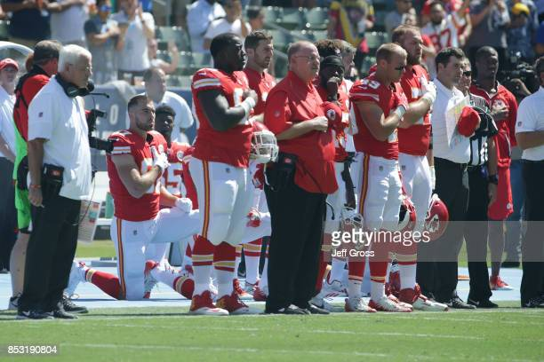Kansas City Cheifs are seen during National Anthem before the game against the Los Angeles Chargers at the StubHub Center on September 24 2017 in...
