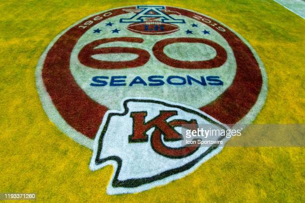 Kansas City Chiefs 60 year memorial logo in the end zone prior to the game against the Houston Texans on January 12 2019 at Arrowhead Stadium in...