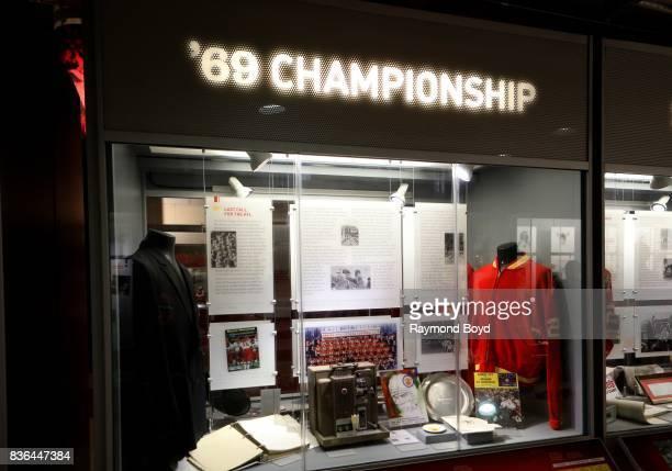 Kansas City Chiefs '69 Championship football memorabilia encased inside the Kansas City Chiefs 'Hall Of Honor' inside Arrowhead Stadium home of the...
