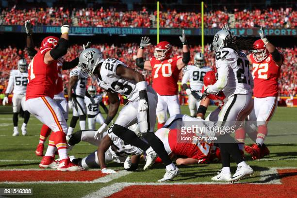 Kansas City Chiefs celebrate what they first thought was a 17yard touchdown reception by tight end Travis Kelce in the first quarter of an AFC West...