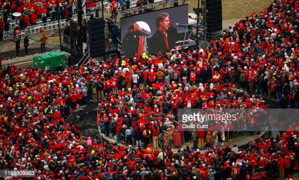 Kansas City Chiefs Chairman and CEO Clark Hunt addresses the teams fans on February 5 2020 in Kansas City Missouri during the citys celebration...
