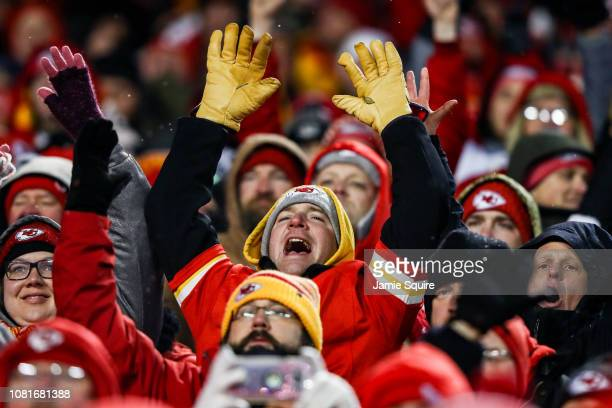 Kansas City Chiefs cheer as an impending victory draws closer in the fourth quarter against the against the Indianapolis Colts during the AFC...