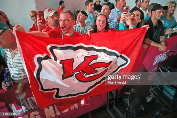 Kansas City Chiefs cheer as they take the stage during the Super Bowl Opening Night presented by BOLT24 the national kick off for Super Bowl LIV...
