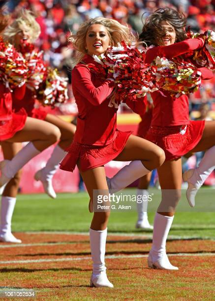 Kansas City Chiefs cheerleader performs during a game against the Denver Broncos on October 28 2018 at Arrowhead Stadium in Kansas City Missouri