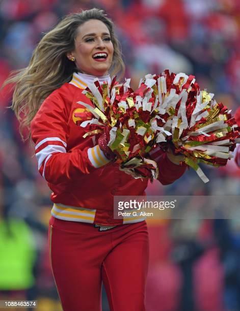 Kansas City Chiefs cheerleader performs during a game against the Oakland Raiders at Arrowhead Stadium on December 30, 2018 in Kansas City, Missouri.