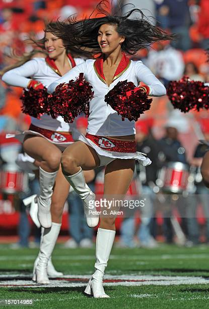 Kansas City Chiefs cheerleader performs during a game against the Denver Broncos on November 25 2012 at Arrowhead Stadium in Kansas City Missouri