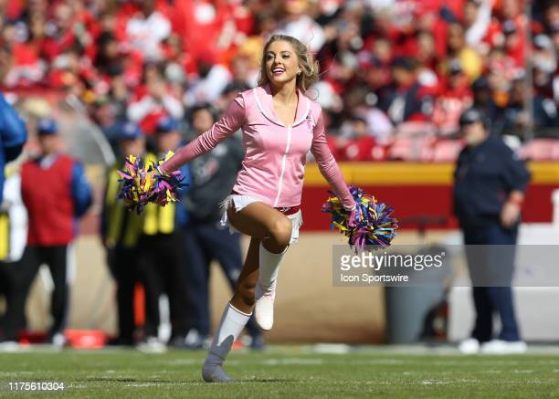 Kansas City Chiefs cheerleader performs in the first quarter of an NFL matchup between the Houston Texans and Kansas City Chiefs on October 13 2019...