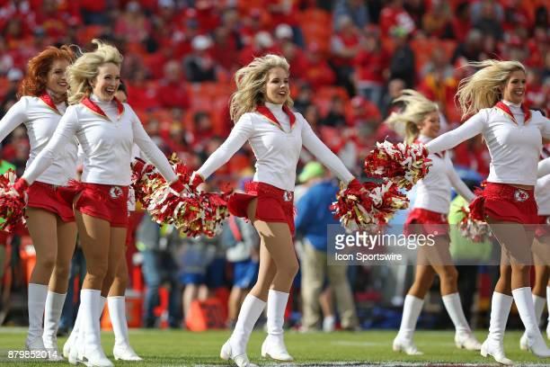 Kansas City Chiefs cheerleaders before a week 12 NFL game between the Buffalo Bills and Kansas City Chiefs on November 26 2017 at Arrowhead Stadium...