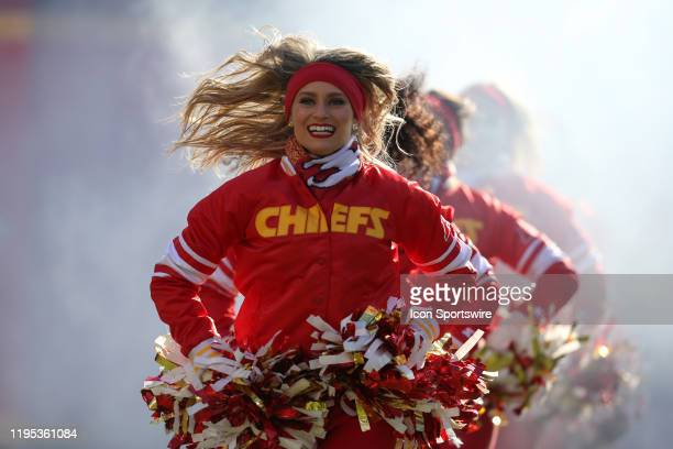 Kansas City Chiefs cheerleaders before the AFC Championship game between the Tennessee Titans and Kansas City Chiefs on January 19, 2020 at Arrowhead...