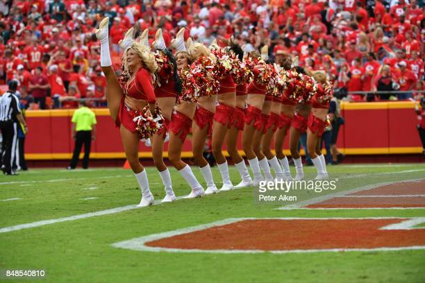 Kansas City Chiefs cheerleaders celebrate in the end zone after a touchdown during the fourth quarter of the game against the Philadelphia Eagles at...