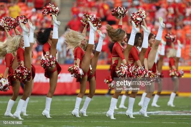Kansas City Chiefs cheerleaders high kick while performing before an NFL preseason game between the Houston Texans and Kansas City Chiefs on August 9...