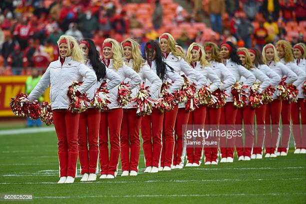Kansas City Chiefs cheerleaders line the field for player entrances at Arrowhead Stadium during pre game game against the Cleveland Browns on...