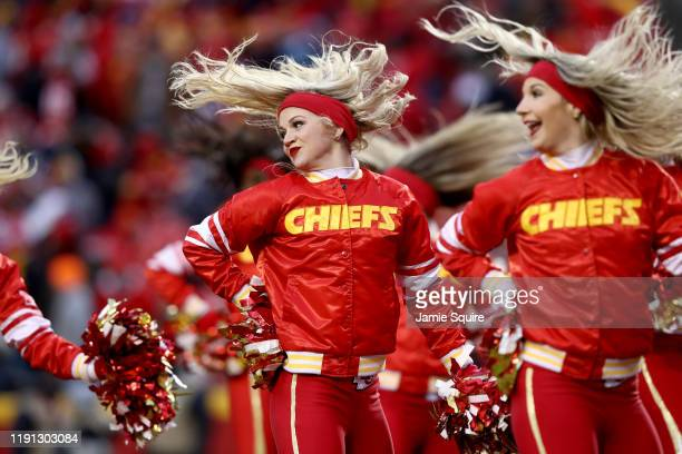 Kansas City Chiefs cheerleaders perform against the Oakland Raiders during the first half in the game at Arrowhead Stadium on December 01, 2019 in...