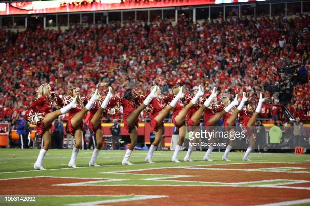 Kansas City Chiefs cheerleaders perform and high kick during a week 7 NFL game between the Cincinnati Bengals and Kansas City Chiefs on October 21...
