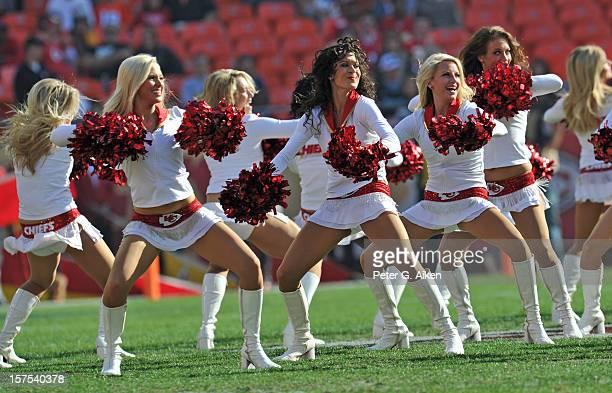 Kansas City Chiefs cheerleaders perform before a game against the Carolina Panthers on December 2, 2012 at Arrowhead Stadium in Kansas City, Missouri.