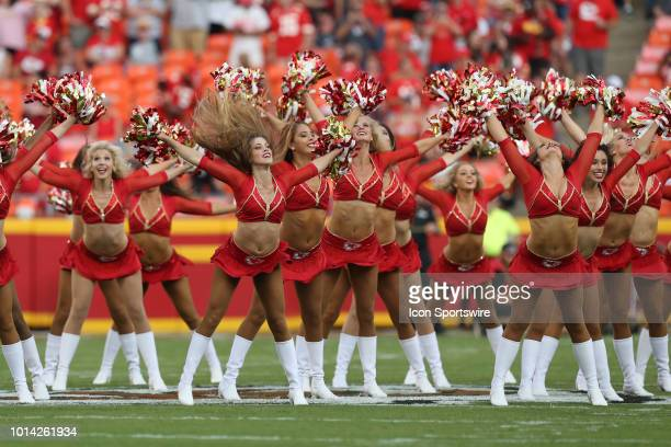 Kansas City Chiefs cheerleaders perform before an NFL preseason game between the Houston Texans and Kansas City Chiefs on August 9 2018 at Arrowhead...