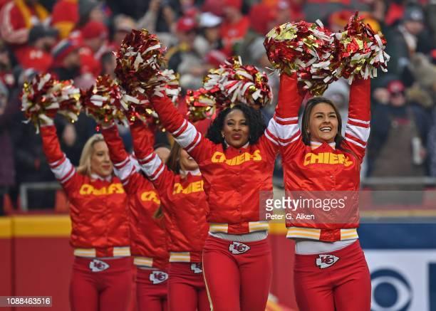 Kansas City Chiefs cheerleaders perform during a game against the Oakland Raiders at Arrowhead Stadium on December 30, 2018 in Kansas City, Missouri.