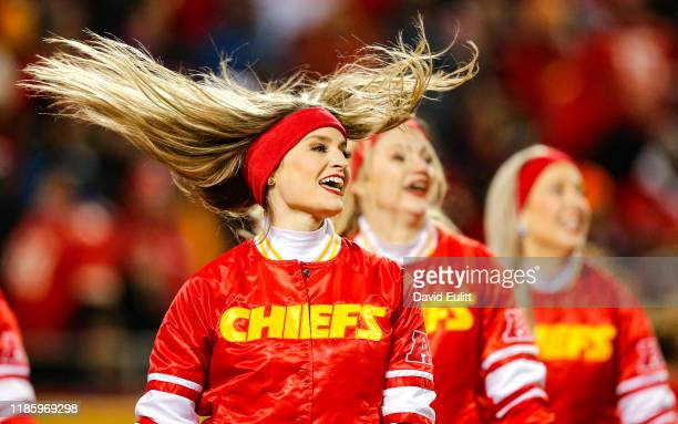 Kansas City Chiefs cheerleaders perform during a timeout during the game against the Oakland Raiders at Arrowhead Stadium on December 1 2019 in...