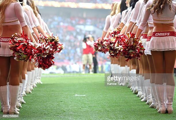 Kansas City Chiefs cheerleaders perform during the Detroit Lions v Kansas City Chiefs NFL International Series Match at Wembley Stadium on November...