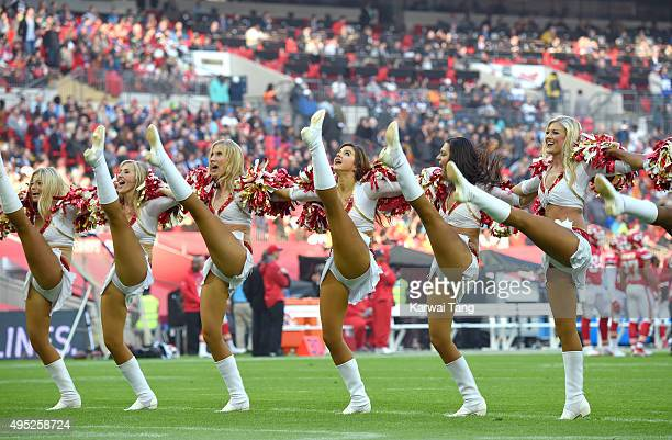 Kansas City Chiefs cheerleaders perform during the Detroit Lions v Kansas City Chiefs NFL International Series Match at Wembley Stadium on November 1...