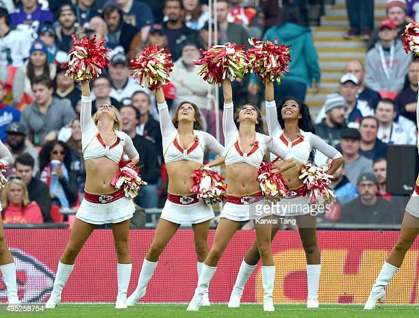 Kansas City Chiefs cheerleaders perform during the Detroit Lions v Kansas City Chiefs NFL International Series Match at Wembley Stadium on November 1...