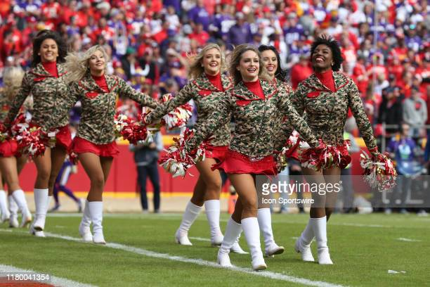 Kansas City Chiefs cheerleaders perform in the first quarter of an NFL game between the Minnesota Vikings and Kansas City Chiefs on November 3, 2019...