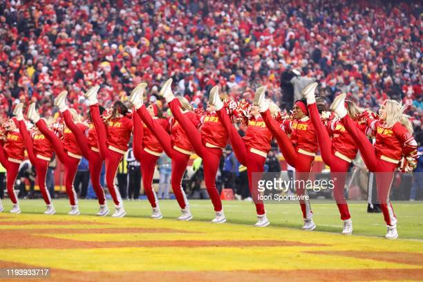 Kansas City Chiefs cheerleaders perform in the third quarter of an NFL Divisional round playoff game between the Houston Texans and Kansas City...
