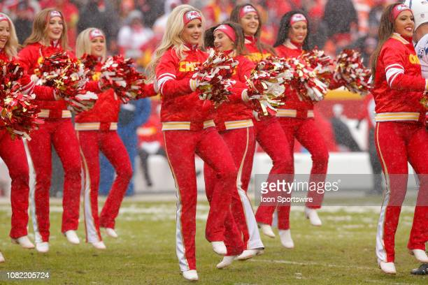 Kansas City Chiefs Cheerleaders perform prior to the AFC Divisional Round game between the Indianapolis Colts and the Kansas City Chiefs on January...