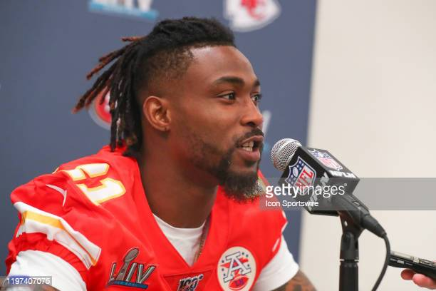 Kansas City Chiefs Cornerback Bashaud Breeland answers questions from thr media during the Kansas City Chiefs press conference on January 29 2020 at...