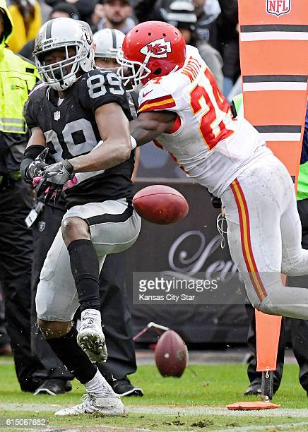 Kansas City Chiefs cornerback D.J. White knocks down a pass intended for Oakland Raiders wide receiver Amari Cooper in the fourth quarter on Sunday,...