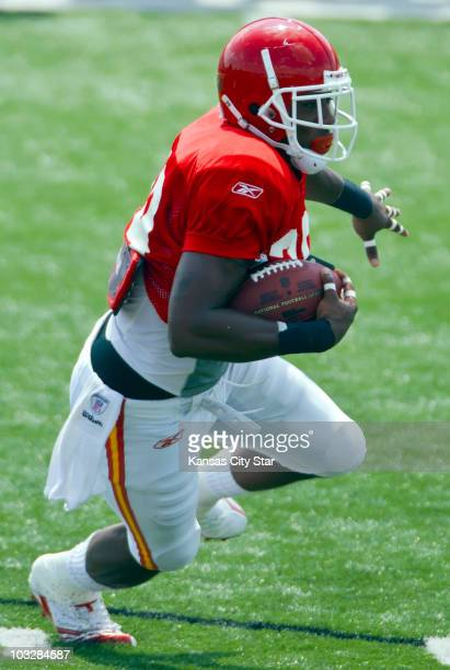 Kansas City Chiefs cornerback Eric Berry returns an interception of a Brodie Croyle pass during Family Fun Day at the team's summer training camp at...