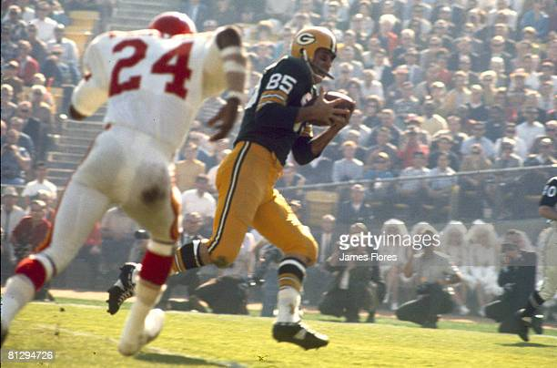 Kansas City Chiefs cornerback Fred Williamson chases Green Bay Packers wide receiver Max McGee in Super Bowl I a 3510 Packers victory on January 15...