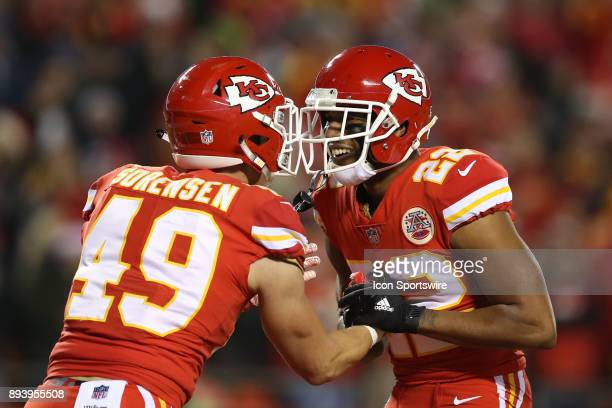 Kansas City Chiefs cornerback Marcus Peters and strong safety Daniel Sorensen after breaking up a pass in the end zone during the second quarter of a...