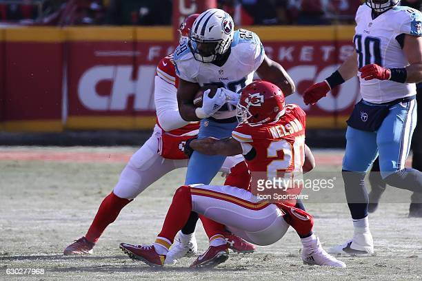 Kansas City Chiefs cornerback Steven Nelson tackles Tennessee Titans running back DeMarco Murray in the first quarter of an NFL game between two...