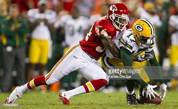 Kansas City Chiefs cornerback Travis Daniels breaks up a pass play intended for Green Bay Packers wide receiver Charles Dillon on fourthand2 late in...