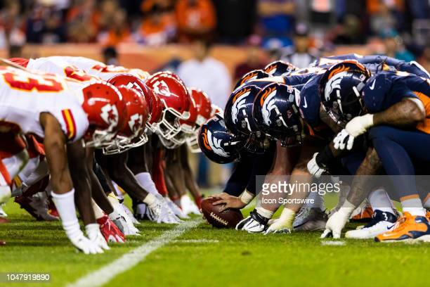 Kansas City Chiefs defense and Denver Broncos offense at the line of scrimmage before an extra point attempt during the NFL regular season football...