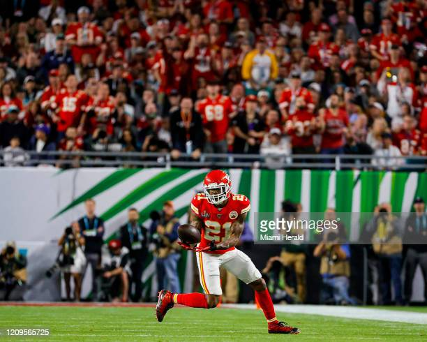 Kansas City Chiefs defensive back Bashaud Breeland catches an interception against the San Francisco 49ers during the first half of Super Bowl LIV at...