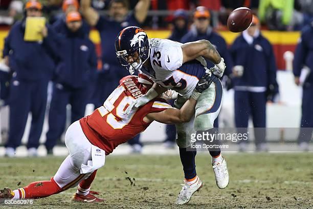 Kansas City Chiefs defensive back Daniel Sorensen forces a fumble by Denver Broncos running back Devontae Booker in the fourth quarter of an AFC West...
