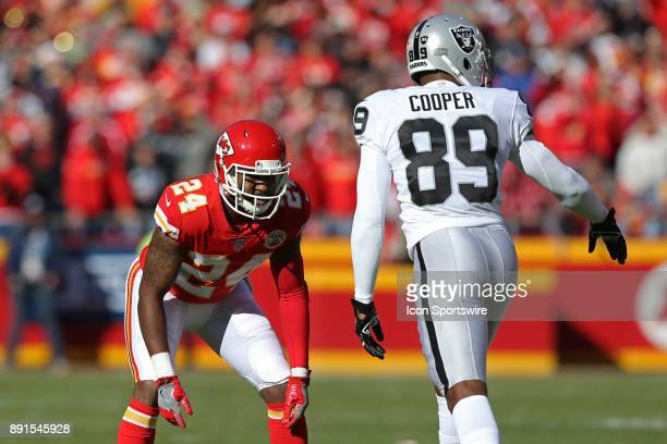 Kansas City Chiefs defensive back Darrelle Revis prepares to cover Oakland Raiders wide receiver Amari Cooper in the first quarter of an AFC West...