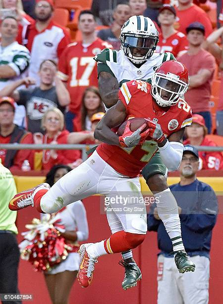 Kansas City Chiefs defensive back D.J. White intercepts a pass intended for New York Jets wide receiver Brandon Marshall in the end zone with less...