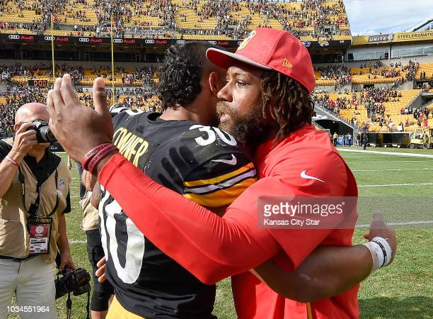 Kansas City Chiefs defensive back Eric Berry gives Pittsburgh Steelers running back James Conner a hug after the Chiefs won 4237 on Sunday Sept 16...