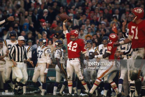 Kansas City Chiefs' defensive back Johnny Robinson celebrates after a play during Super Bowl IV against the Minnesota Vikings at Tulane Stadium on...