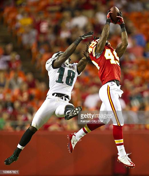 Kansas City Chiefs defensive back Kendrick Lewis intercepts a pass in the third quarter intended for Philadelphia Eagles wide receiver Jeremy Maclin...