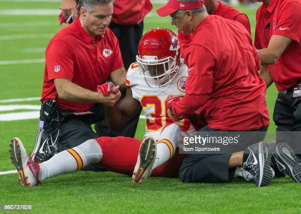 Kansas City Chiefs defensive back Steven Terrell sustains an injury during the football game between the Kansas City Chiefs and Houston Texans on...