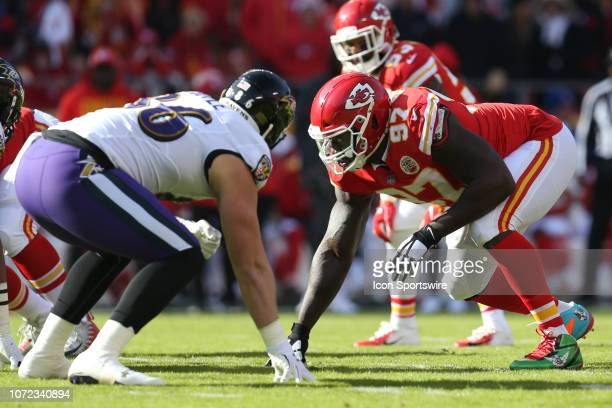 Kansas City Chiefs defensive end Allen Bailey and Baltimore Ravens tight end Nick Boyle line up before the snap in the first quarter of an NFL game...