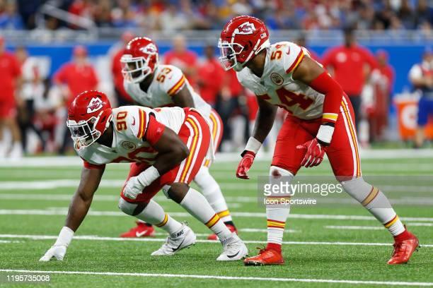 Kansas City Chiefs defensive end Emmanuel Ogbah Kansas City Chiefs linebacker Anthony Hitchens and Kansas City Chiefs linebacker Damien Wilson wait...