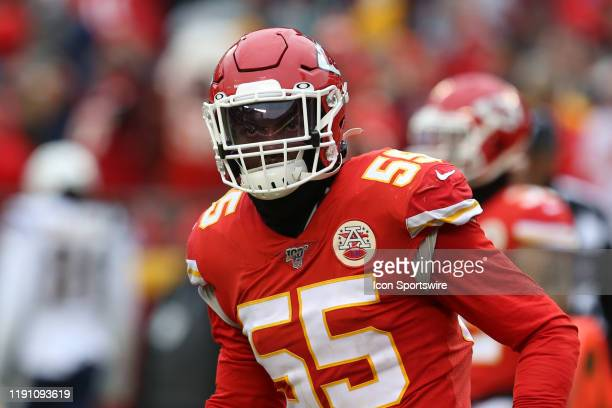 Kansas City Chiefs defensive end Frank Clark after making a stop on fourth down late in the third quarter of an AFC West game between the Los Angeles...