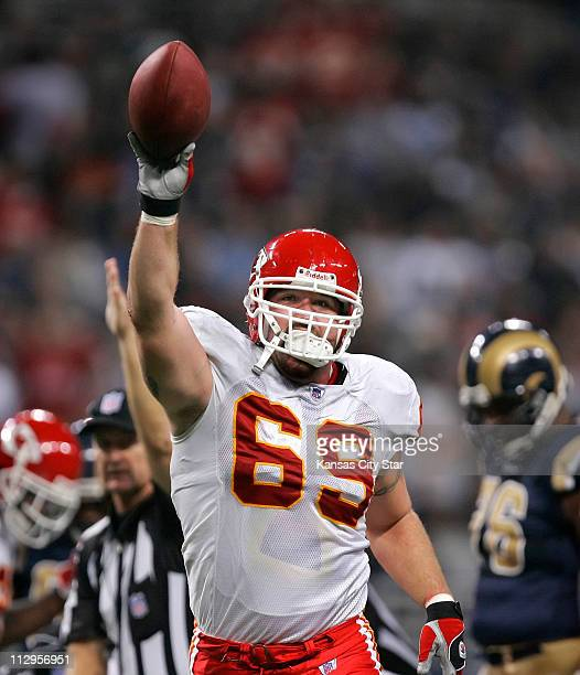 Kansas City Chiefs defensive end Jared Allen holds up the football he recovered off of a St Louis Rams fumble The Chiefs defeated the Rams 3117 at...
