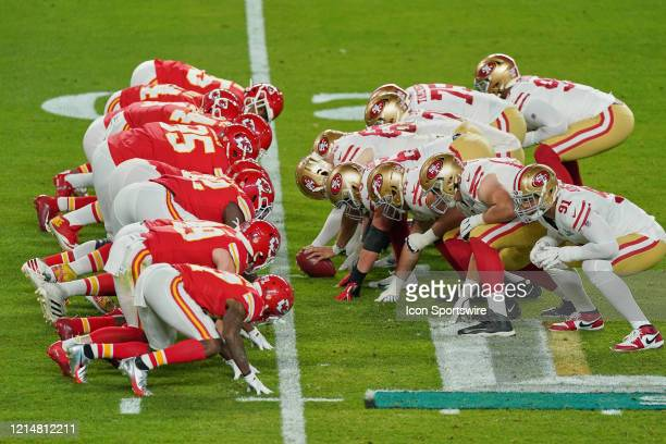 Kansas City Chiefs defensive line lines up across from the San Francisco 49ers offensive line at the line of scrimmage in game action during the...