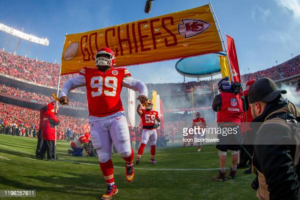 Kansas City Chiefs defensive tackle Khalen Saunders enters the game against the Tennessee Titans at Arrowhead Stadium in Kansas City Missouri